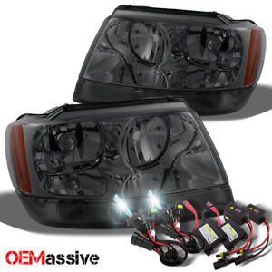 Fit 99 04 Jeep Grand Cherokee Replacement Smoke Headlights 6k White Hid