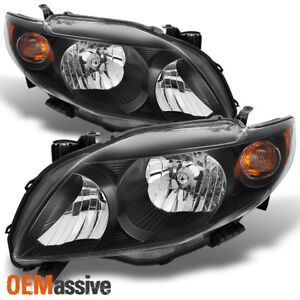 Fits 09 10 Toyota Corolla Black Headlights Lamp Replacement Left right 2009 2010
