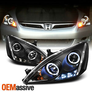 Fits 2003 2007 Honda Accord Black Bezel Dual Halo Led Projector Headlights