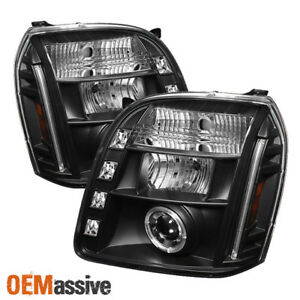 Fits 07 14 Gmc Yukon Denali Black Halo Projector Led Headlights Lamps Left right