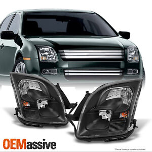 Fit 06 09 Ford Fusion Black Headlights Lamps Replacement Left Right 2006 2009