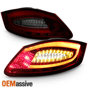 Fit 2005 2008 Porsche Boxster 987 2006 2008 Cayman Red Smoked Led Tail Lights