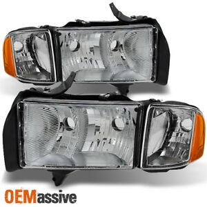 Fit 1999 2002 Dodge Ram 1500 Pickup Sport Headlights Replacement W corner Lamps
