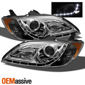 Halogen Fits 2004 2008 Mazda 3 4drs Chrome Drl Tube Led Projector Headlights