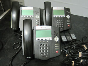 Lot Of 3 Polycom Soundpoint Ip450 Ip Phones W 3x Power Sps 12a 015 Adapters