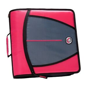 Case it Mighty Zip Tab 3 inch Zipper Binder Neon Pink d 146 neopnk