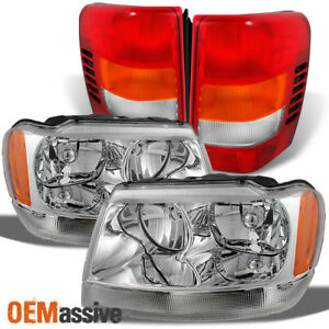 Fit 99 04 Jeep Grand Cherokee Clear Headlights Red Tail Lights Replacement