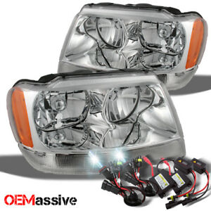 Fit 99 04 Jeep Grand Cherokee Replacement Headlights Ballast 6k White Hid