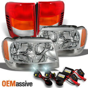 Fit 99 04 Jeep Grand Cherokee Clear Headlights Tail Lights 6k Hid
