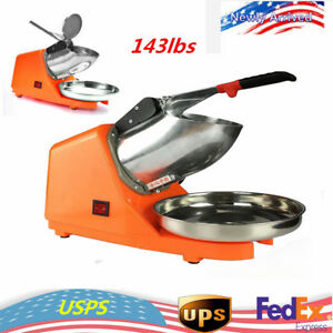143lbs Electric Ice Crusher Shaver Stainless Steel Blade Cone Maker Machine New