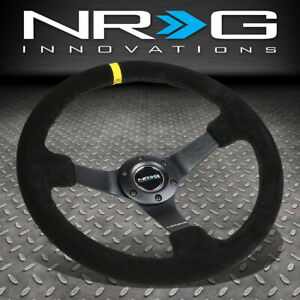 Nrg Reinforced 350mm 3 Deep Dish Black Suede Yellow Chnter Stripe Steering Wheel