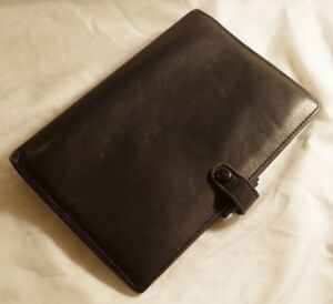 Filofax Sherwood Rare Vintage Calf Leather Black Personal Binder W Coach Insert