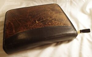 Franklin Covey Classic 1 5 Black brown Embossed Leaves Unique Leather Binder