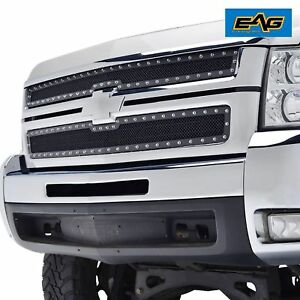 07 10 Chevy Silverado 2500 3500hd Front Hood Mesh Grille Guard With Chrome Rivet