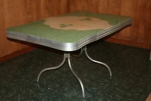 Vintage 1950 S Kitchen Table Chrome With Formica Top Green W Leaf Pattern