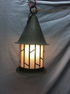 Vtg Arts Crafts Copper Porch Ceiling Light Fixture Leaded Glass Old 486 18e