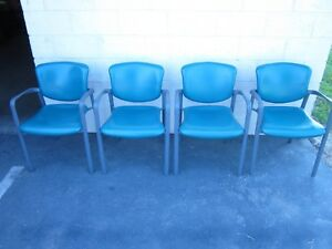 4 Haworth Improv Leg Base Stacking Chairs blue W Polyprolene Back