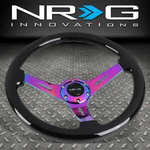 Nrg 350mm Classic 3 deep Dish Black Wood Grain Neo Chrome Spoke Steering Wheel