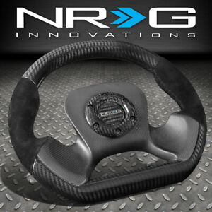 Nrg 320mm Light Weight Full Carbon Fiber black Suede Steering Wheel Flat Botom
