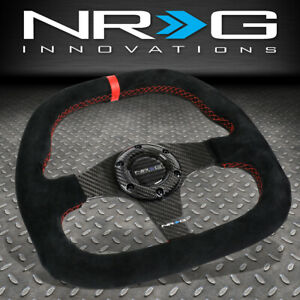 Nrg 320mm Carbon Fiber Flat Bottom Suede Red Center Strip stitch Steering Wheel