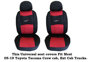 Black red Mesh Fabric 6mm Padded Seat Covers Fit Most 05 19 Toyota Tacoma