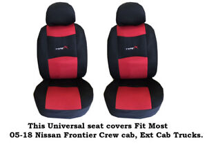 Black red Mesh Fabric 6mm Padded Seat Covers Fit Most 05 19 Nissan Frontier