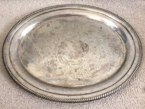 C19th Victorian Georgian Silver Plated Butler S Serving Oval Tray Floral Relief