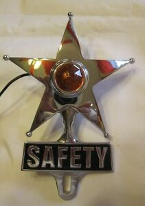 Amber Lighted Chrome Safety Star License Topper Lowrider Bomber Hotrod Ratrod