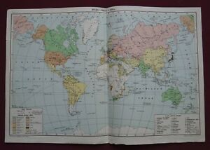 Old Cccp Map Political World Division In 1876 Soviet School Poster Big 1951