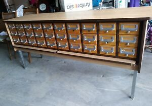 Vintage 21 Drawer Library File Card Cabinet Mid Century Table