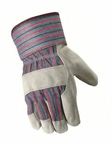 Wells Lamont Leather Work Gloves With Safety Cuff Suede Palm One Size 12t