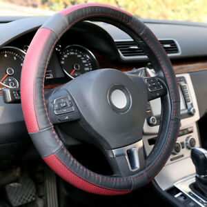15 38cm Car Steering Wheel Cover Genuine Leather Breathable Anti Slip Red