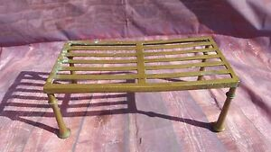 Antique Brass Trivet Fire Place Kitchen Cooking Iron Kettle Stand Plant Stand