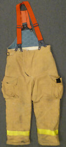 38x28 Pants W Suspenders Firefighter Turnout Bunker Fire Gear Fire dex P925