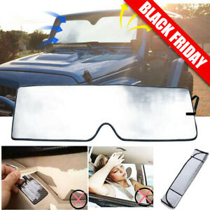 Front Windshield Sun Shade Visor Blocks Uv Rays Sunshade For Jeep Jk Wrangler