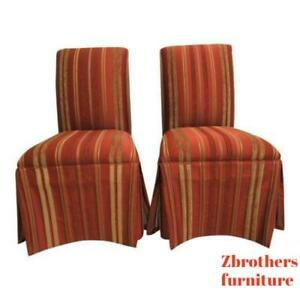 Pair Ethan Allen Parsons Dining Room Bouidoir Accent Side Chairs