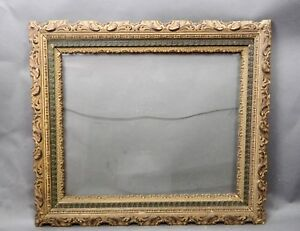 Large Victorian 3 Part Embossed Wood Gesso Picture Frame Mirror Frame 28x25