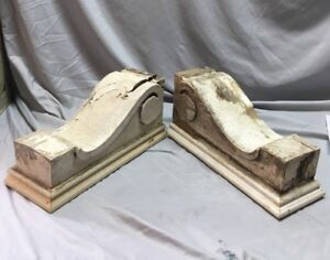 Large Pair Antique Victorian Style Roof Corbels Shelf Brackets Vtg Chic 48 18c