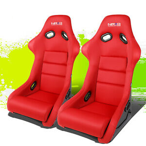 Left Right Nrg Red Fiberglass Woven Cushioned Sports Bucket Racing Seats