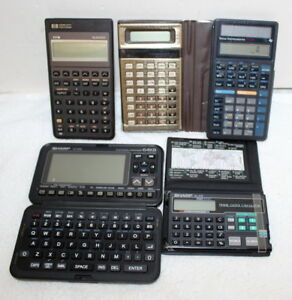 Vintage Calculator Lot Sharp Casio Hp Texas Instruments 6 Total