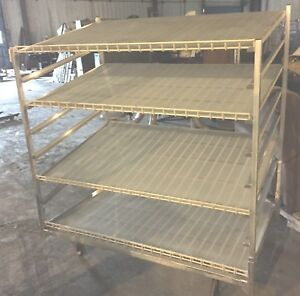 1 Rolling Baking Bakery Rack 4 Shelves Cooling Display Store 3 X 5 X 5 Aluminum