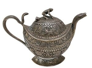 Fine Antique Indian Silver Teapot Kashmir Flora Snakes And Frog 19th C