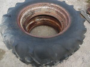Ford 9n Farm Tractor Rear Tires Rims 12 4 X 28 no Fluid
