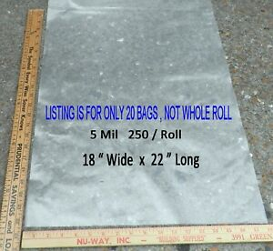 20 Clear 5 Mil 18 X 22 Large Poly Plastic Bags Flat Open Top Off Roll