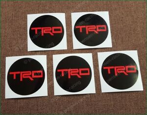 X5 Toyota Trd Center Caps Red Laminated Vinyl Decals Stickers Kit 63mm Any Size