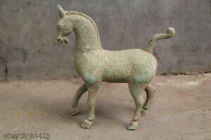 42cm Rare Chinese Old Bronze Antique Standing Dancing Fengshui Elegant Horse