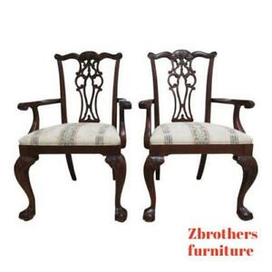 2 Ethan Allen 18th Century Mahogany Dining Room Arm Chairs Ball Claw Chippendale