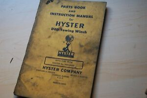 Cat D8d Caterpillar Tractor Hyster Towing Winch Owner Operator Parts Manual Book
