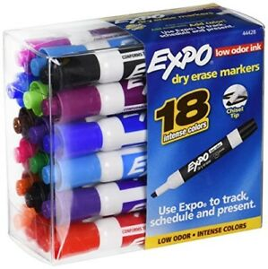 18pk Expo Intense Colors Dry Erase Markers Low Odor Ink Chisel Tip Track Sanfor