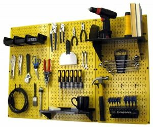 Tool Storage Organizer Metal Pegboard Kit Wall Mount Garage Space Saver